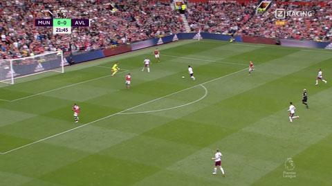 Một cầu thủ của Villa ập vào đá bối nhưng may cho MU là De Gea đã kịp cản phá
