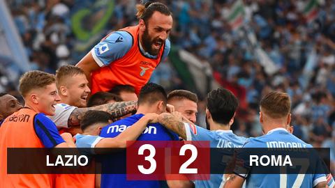 Kết quả Lazio 3-2 Roma: Sarri đánh bại Mourinho trong trận derby 5 bàn thắng