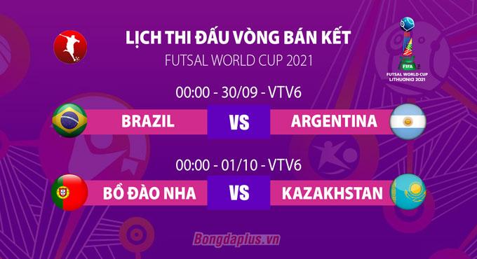 Lịch thi đấu vòng bán kết FIFA Futsal World Cup 2021