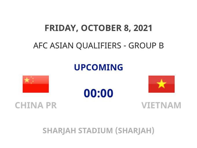 Trận Trung Quốc - Việt Nam diễn ra vào lúc 0h00 ngày 8/10 theo giờ Việt Nam