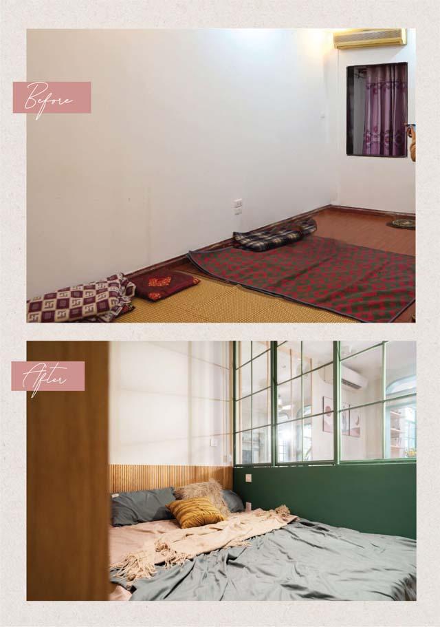 Khu vực phòng ngủ trước và sau khi được cải tạo