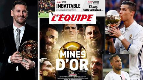 L'Equipe dự đoán Ronaldo và Messi lọt top 3 Quả bóng Vàng 2021