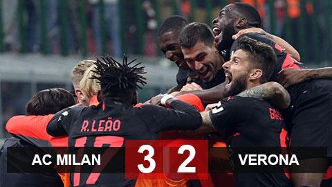 Kết quả Milan 3-2 Verona: Ngược dòng ngoạn mục, Milan lên đỉnh Serie A
