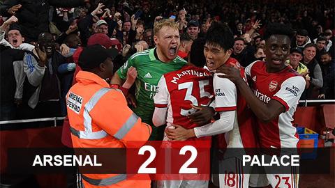 Kết quả Arsenal 2-2 Crystal Palace: Pháo thủ hút chết tại Emirates
