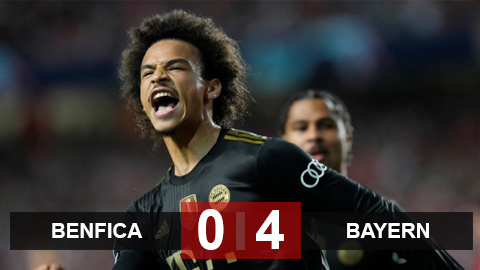 Kết quả Benfica 0-4 Bayern: Sane bùng nổ